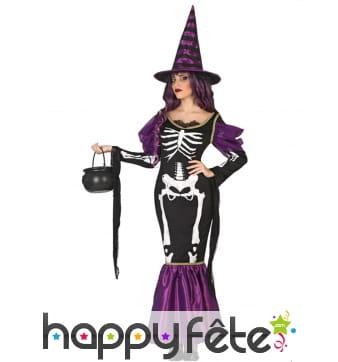 Robe violette de sorcière squelette
