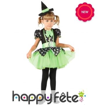 Robe verte et noire de petite sorcière en tutu