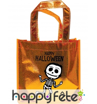 Sac à bonbons pailleté Happy Halloween