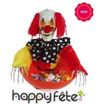 Saladier à bonbon clown lumineux et sonore
