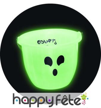 Seau à bonbons fantôme phosphorescent
