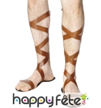 Sandales avec lanières en simili cuir