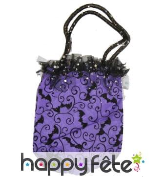 Sac à main chauve-souris violet pour Halloween