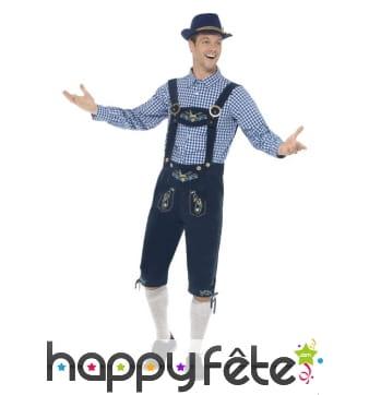 Salopette bavaroise bleue traditionnelle, homme