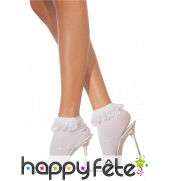 Socquettes blanches, bord en dentelles