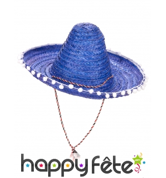 Sombrero bleu contours en pompons blancs