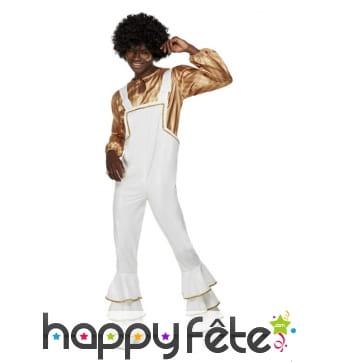 Salopette blanche disco et chemise dorée, adulte