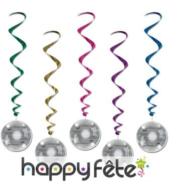 Spirales boules disco à suspendre