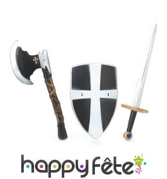 Set bouclier, épée et hache médiévale en plastique