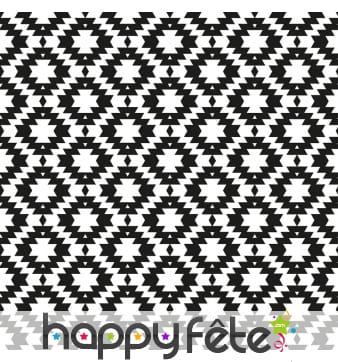 Serviettes blanches imprimé noir psychédélique
