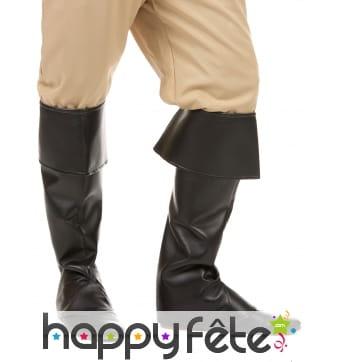 Sur-bottes noires unies en simili cuir
