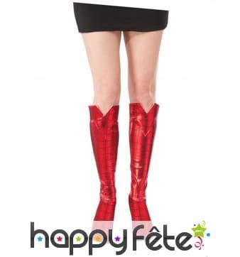Sur-bottes Spiderman rouge métallisé pour femme