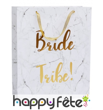 Sac-cadeau Bride Tribe blanc or