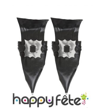 Sur-chaussures noires de sorcière en simili cuir