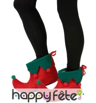 Sur-chaussures rouge et vert d'elfe