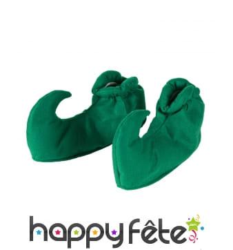Sur-chaussures vertes d'elfe