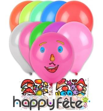 Sachet de 10 Ballons avec stickers visage