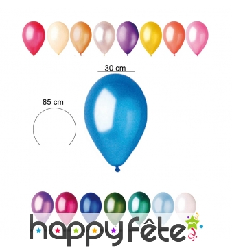 Sachet de 10 ballons nacrés de 30cm