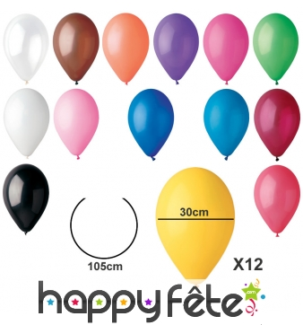 Sachet de 12 ballons standards de 30cm