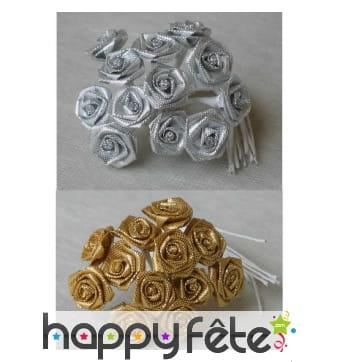 Sachet de 12 petites roses en lurex, décoratives
