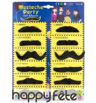 Set de 12 Moustaches noires adhésives
