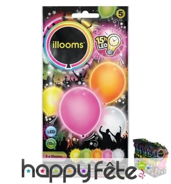 Set de 5 ballons multicolores et lumineux