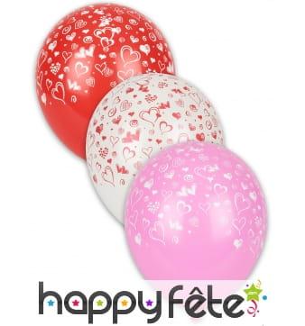 Sachet de 8 Ballons motifs petits coeurs