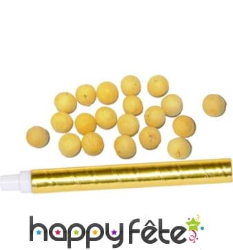 Sarbacane dorée avec boules jaunes