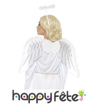 Set d'ange blanc, ailes et accessoires