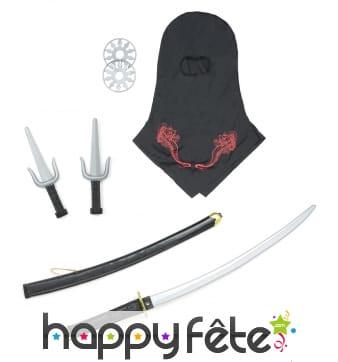 Set d'armes ninja en plastique