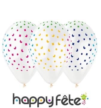 Sachet de ballons motifs confettis