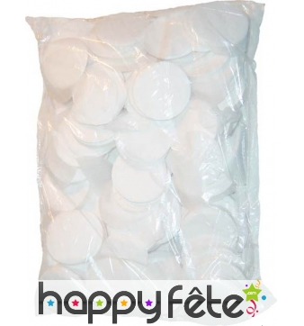 Sac de confettis rond blanc fluo