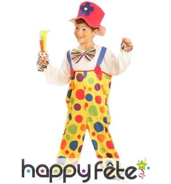 Salopette de clown multicolore pour enfant