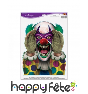 Stickers de clown tueur, 30 x 43 cm
