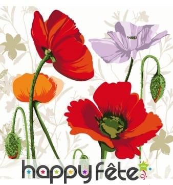 Serviettes décorées de dessin de fleurs