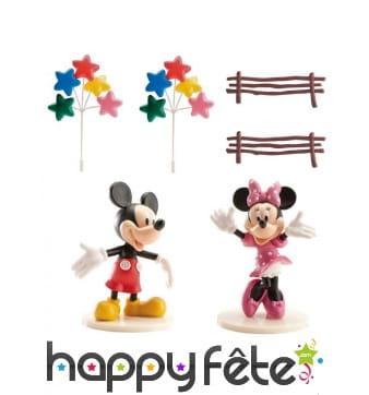 Set de déco Mickey et Minnie pour gâteau de 8,5 cm