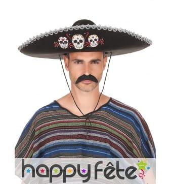 Sombrero Dia de Los Muertos noir