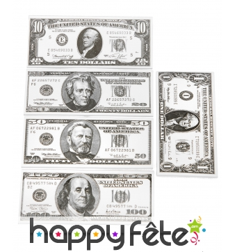 Set de faux dollars, billets