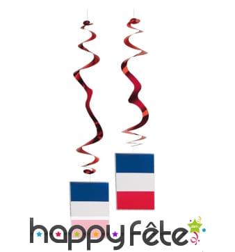 Suspensions drapeau francais en papier