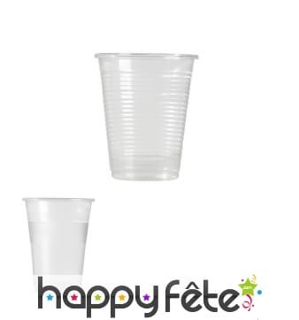 Sachet de gobelets transparents en plastique