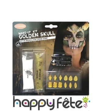Set de maquillage squelette avec gemmes dorées