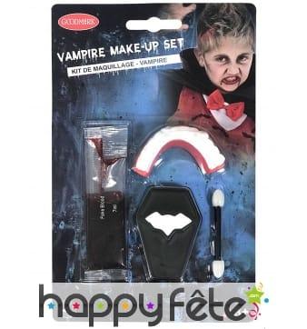 Set de maquillage vampire avec dentier, enfant