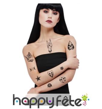 Set de tatouages punk rock occultes pour adulte