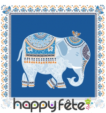 Serviettes éléphant bleu motifs Indien