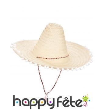 Sombrero écru contours en pompons blancs