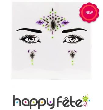 Stickers et gemmes colorés pour visage