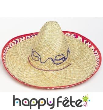 Sombrero en paille pour adulte avec liseré rouge