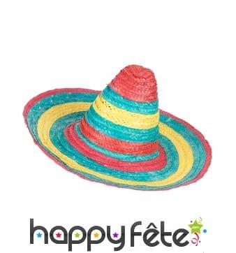 Sombrero en paille rouge-vert-jaune