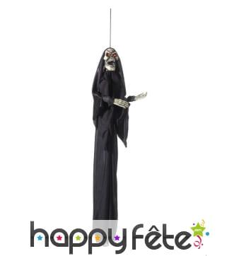 Squelette en robe noire à suspendre, yeux lumineux