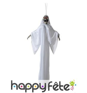 Squelette fantôme blanc à suspendre, yeux lumineux